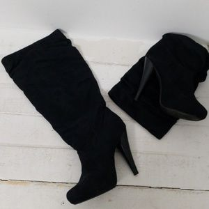 ❤MICHAEL ANTONIO fabric heeled scrunch boots, 8.5
